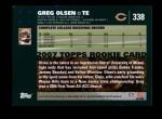 2007 Topps #338  Greg Olsen  Back Thumbnail