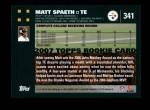 2007 Topps #341  Matt Spaeth  Back Thumbnail