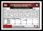 2008 Topps #91  Earnest Graham  Back Thumbnail