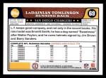 2008 Topps #69  LaDainian Tomlinson  Back Thumbnail
