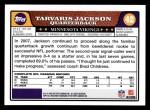 2008 Topps #42  Tarvaris Jackson  Back Thumbnail