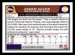 2008 Topps #209  Jared Allen  Back Thumbnail
