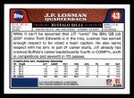 2008 Topps #43  J.P. Losman  Back Thumbnail