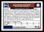 2008 Topps #97  Kenton Keith  Back Thumbnail