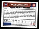 2008 Topps #14  Trent Edwards  Back Thumbnail