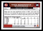 2008 Topps #29  Sage Rosenfels  Back Thumbnail