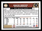 2008 Topps #1  Drew Brees  Back Thumbnail