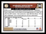 2008 Topps #103  Aaron Stecker  Back Thumbnail