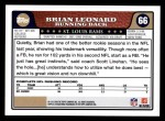 2008 Topps #66  Brian Leonard  Back Thumbnail