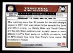 2008 Topps #306   -  Torry Holt Pro Bowl Back Thumbnail
