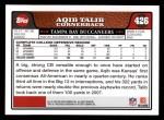 2008 Topps #426  Aqib Talib  Back Thumbnail
