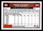 2008 Topps #231  Mike Vrabel  Back Thumbnail