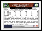 2008 Topps #380  John Carlson  Back Thumbnail
