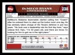 2008 Topps #238  DeMeco Ryans  Back Thumbnail
