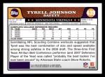 2008 Topps #439  Tyrell Johnson  Back Thumbnail