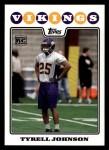 2008 Topps #439  Tyrell Johnson  Front Thumbnail