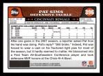 2008 Topps #396  Pat Sims  Back Thumbnail