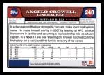 2008 Topps #240  Angelo Crowell  Back Thumbnail