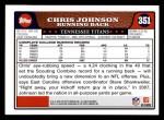 2008 Topps #351  Chris Johnson  Back Thumbnail