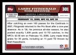 2008 Topps #301   -  Larry Fitzgerald Pro Bowl Back Thumbnail
