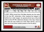 2008 Topps #330  Patrick Willis  Back Thumbnail