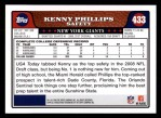2008 Topps #433  Kenny Phillips  Back Thumbnail
