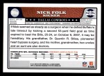 2008 Topps #282  Nick Folk  Back Thumbnail