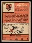 1966 Topps #127  Keith Lincoln  Back Thumbnail