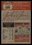 1953 Topps #119  Johnny Sain  Back Thumbnail