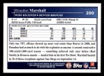 2009 Topps #200  Brandon Marshall  Back Thumbnail