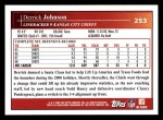 2009 Topps #253  Derrick Johnson  Back Thumbnail