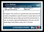 2009 Topps #367  Eben Britton  Back Thumbnail