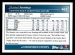 2009 Topps #403  Rashad Jennings  Back Thumbnail