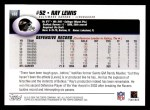 2004 Topps #188  Ray Lewis  Back Thumbnail