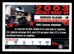 2004 Topps #301   -  Donovan McNabb Weekly Wrap-Up Back Thumbnail