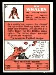 1966 Topps #14  Jim Whalen  Back Thumbnail