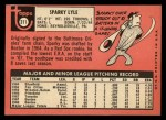 1969 Topps #311  Sparky Lyle  Back Thumbnail