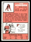 1966 Topps #1   Tommy Addison  Back Thumbnail