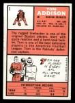 1966 Topps #1  Tom Addison  Back Thumbnail