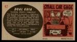 1961 Topps Sports Cars #42   Dual Ghia Back Thumbnail