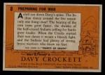 1956 Topps Davy Crockett #8 ORG  Preparing for War  Back Thumbnail