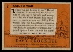 1956 Topps Davy Crockett #2 ORG  Call to War   Back Thumbnail