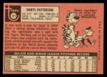 1969 Topps #101  Daryl Patterson  Back Thumbnail
