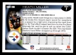 2010 Topps #7  Heath Miller  Back Thumbnail