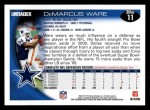 2010 Topps #11  DeMarcus Ware  Back Thumbnail