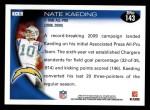 2010 Topps #143  Nate Kaeding  Back Thumbnail
