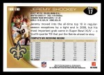 2010 Topps #17  Jeremy Shockey  Back Thumbnail