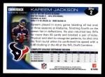 2010 Topps #2  Kareem Jackson  Back Thumbnail