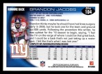 2010 Topps #104  Brandon Jacobs  Back Thumbnail