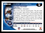 2010 Topps #40  Chris Johnson  Back Thumbnail
